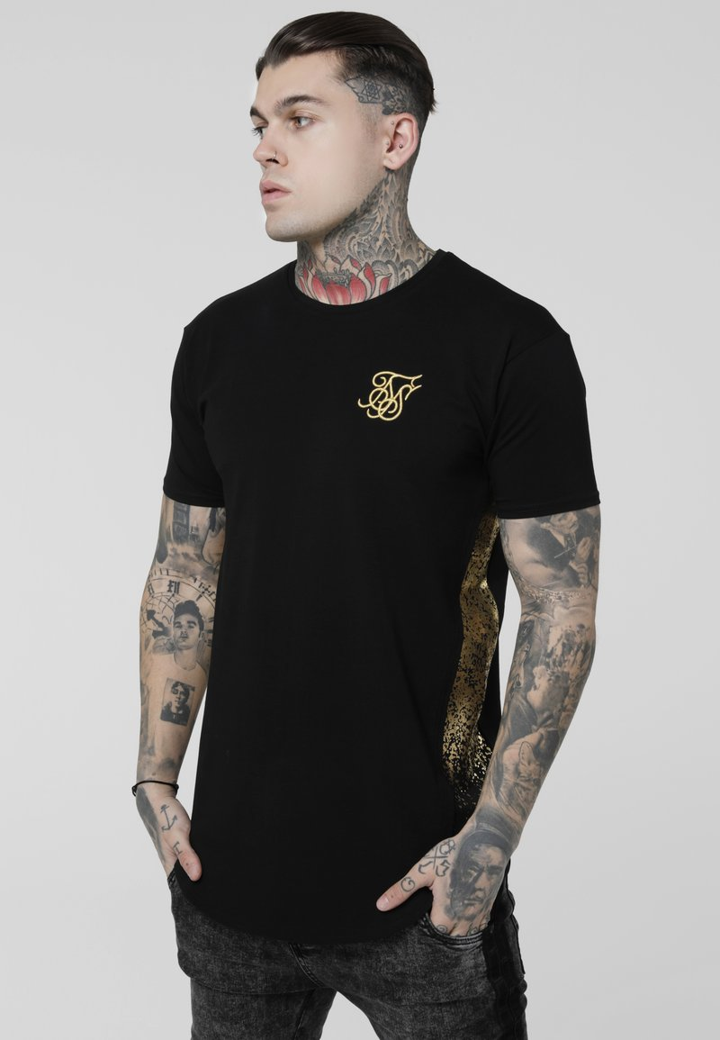 SIKSILK - FOIL FADE PANEL TEE - Camiseta estampada - black/gold