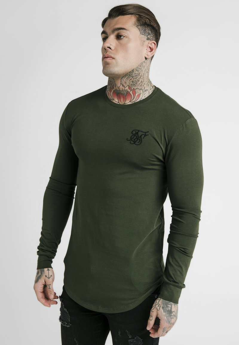 SIKSILK - LONG SLEEVE GYM TEE - Langærmede T-shirts - khaki