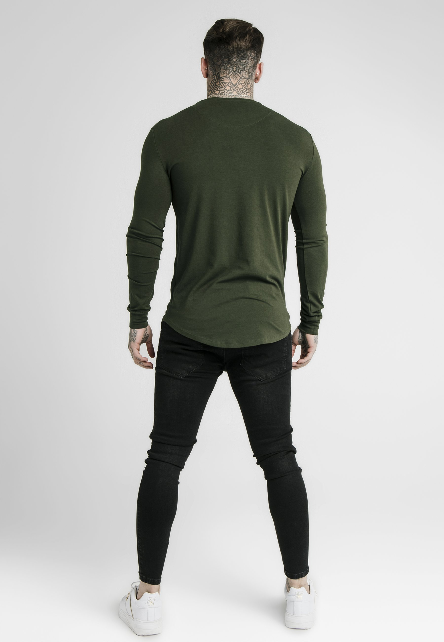 Siksilk Manches Gym Long Longues shirt À TeeT Khaki Sleeve UVpSMGqz