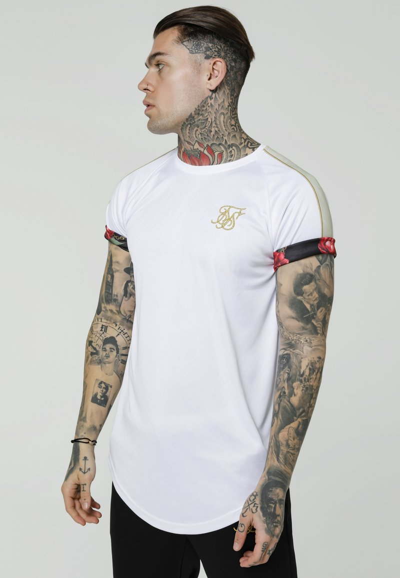 SIKSILK - MAJESTIC ROLL SLEEVE TEE - T-Shirt print - white/ecru/red