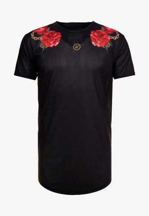 MAJESTIC CURVED HEM TEE - T-shirt con stampa - black