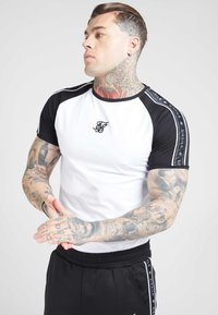 SIKSILK - RAGLAN TAPE GYM TEE - T-shirt imprimé - black/white - 0