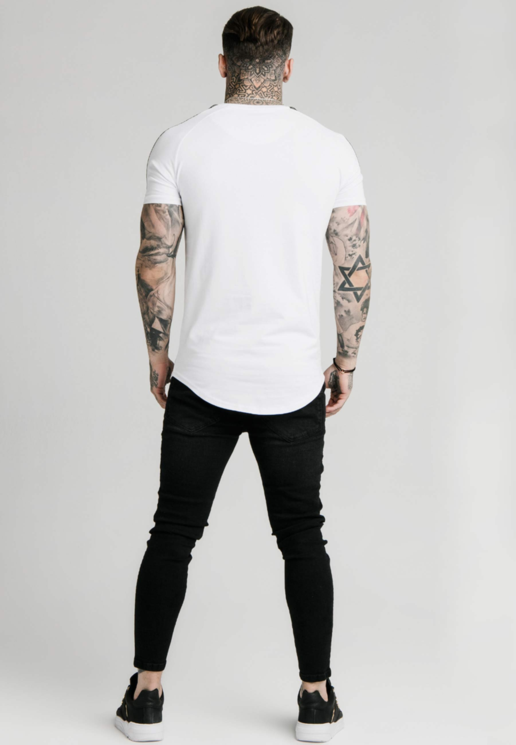 SIKSILK RAGLAN FOIL FADE GYM TEE - T-shirt z nadrukiem - white/silver