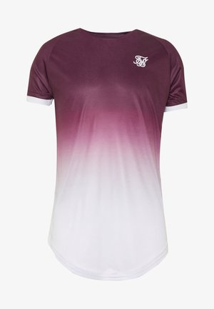 SIKSILK FADE TECH TEE - T-shirt imprimé - rich burgundy fade