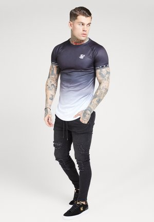 RAGLAN CURVED HEM TECH TEE - T-shirts med print - black/white