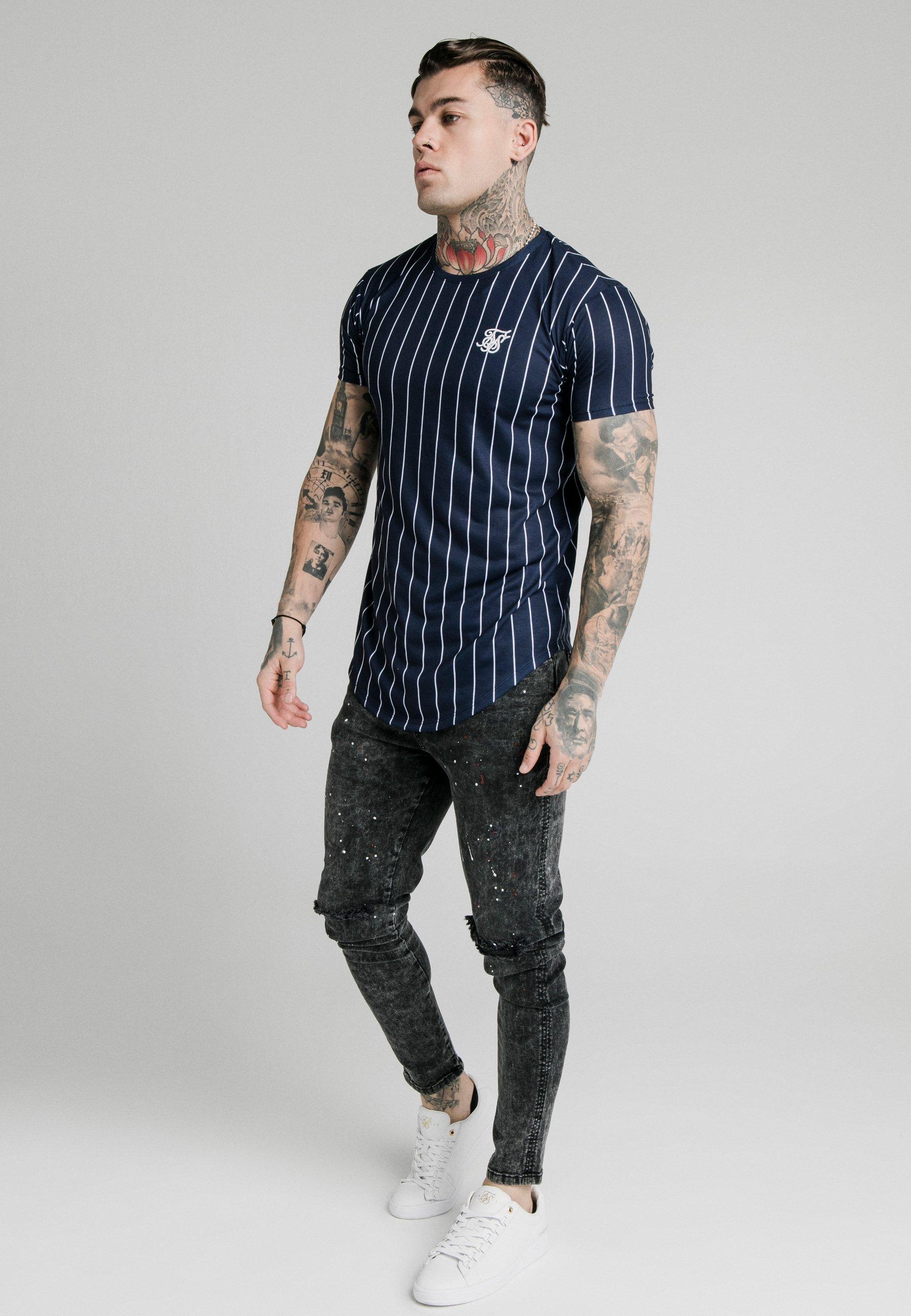 SIKSILK PINSTRIPE TEE - T-shirt z nadrukiem - navy