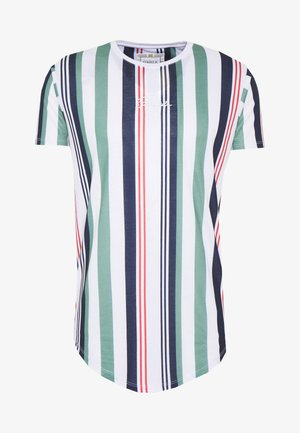 STRIPE TEE - T-shirt med print - white/navy/green