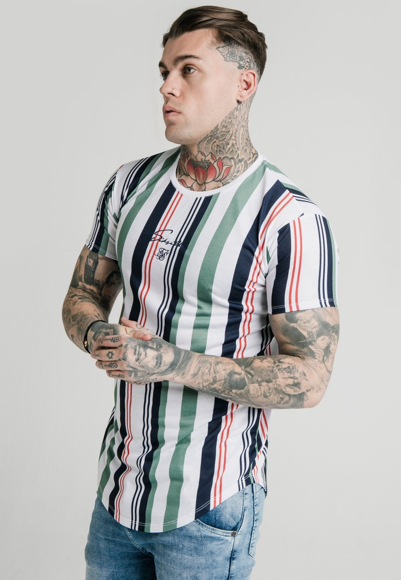 SIKSILK - STRIPE TEE - T-shirt print - white/navy/green