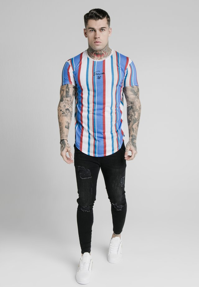 STRIPE TEE - Print T-shirt - blue/red/ecru