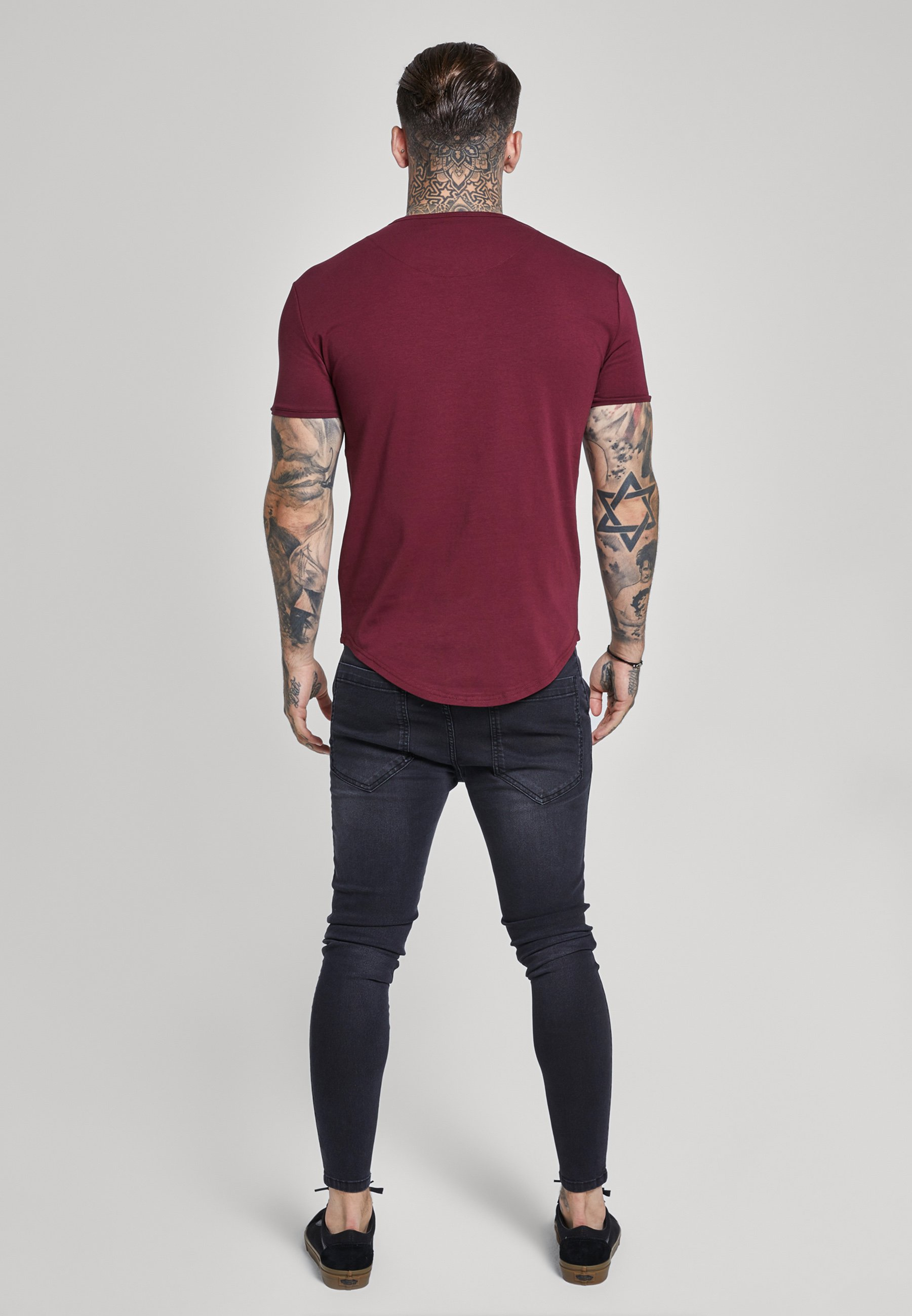 SIKSILK SHORT SLEEVE GYM TEE - T-shirt basic - burgundy