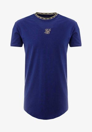 TAPE COLLAR GYM TEE - Basic T-shirt - navy/gold