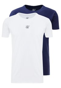 SIKSILK - 2 PACK - T-shirt basic - white & navy - 0
