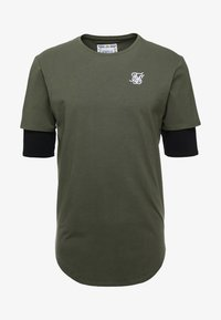 SIKSILK - INSET SLEEVE GYM TEE - Camiseta estampada - khaki/black - 3