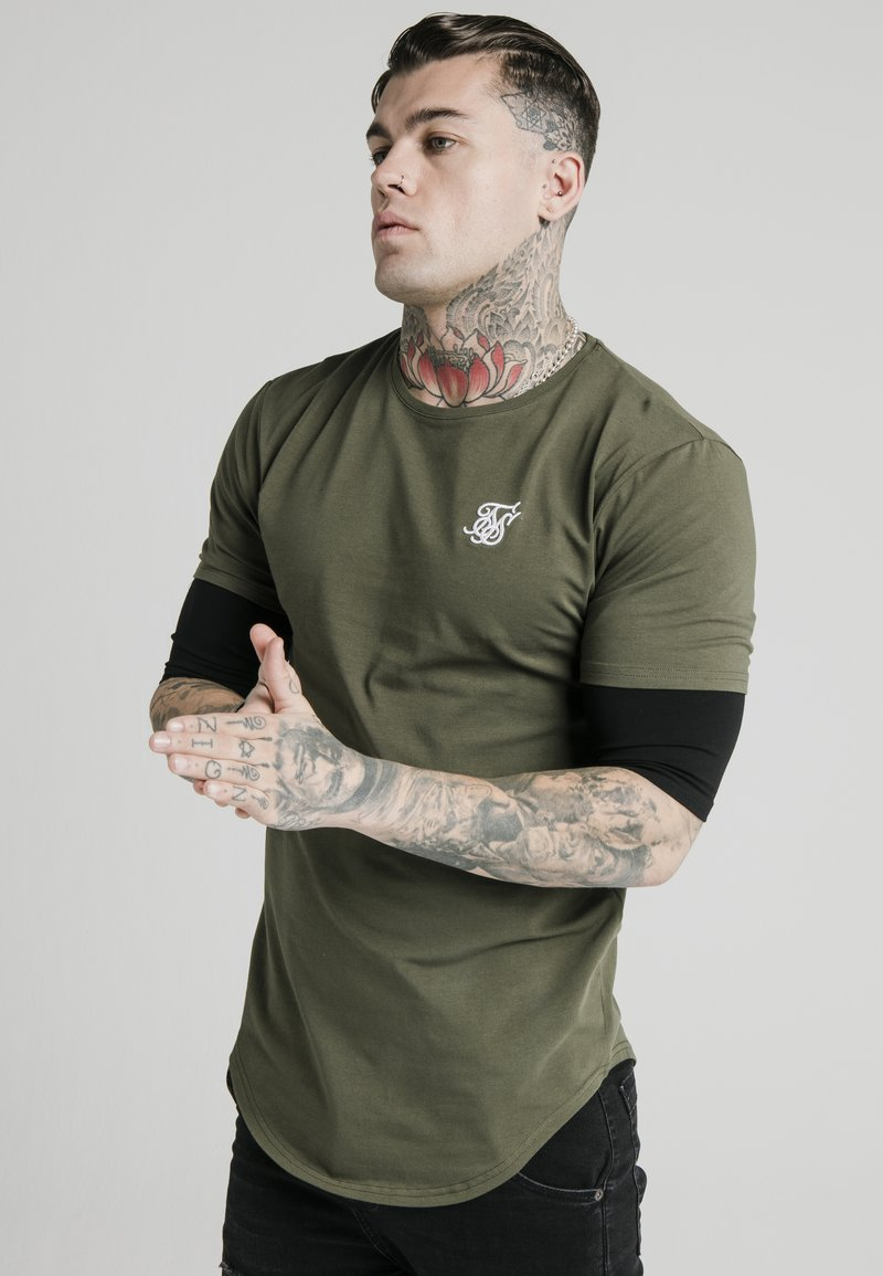 SIKSILK - INSET SLEEVE GYM TEE - Camiseta estampada - khaki/black