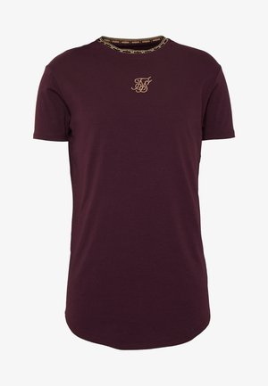 TAPE COLLAR GYM TEE - Jednoduché triko - burgundy