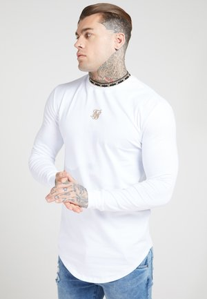 LONG SLEEVE CHAIN TAPE COLLAR GYM TEE - Pitkähihainen paita - white