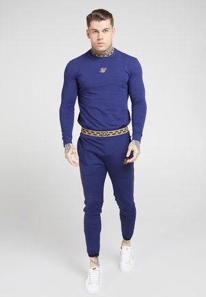 SIKSILK LONG SLEEVE TAPE COLLAR GYM TEE - Long sleeved top - navy/gold
