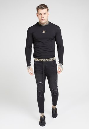 LONG SLEEVE CHAIN TAPE COLLAR GYM TEE - Long sleeved top - black