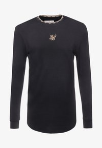 SIKSILK - LONG SLEEVE CHAIN TAPE COLLAR GYM TEE - Bluzka z długim rękawem - black - 3