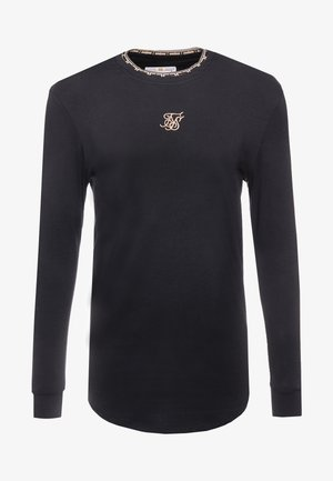 LONG SLEEVE CHAIN TAPE COLLAR GYM TEE - Top s dlouhým rukávem - black