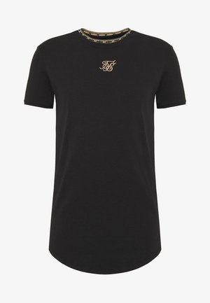 TAPE COLLAR GYM TEE - Triko s potiskem - black/gold