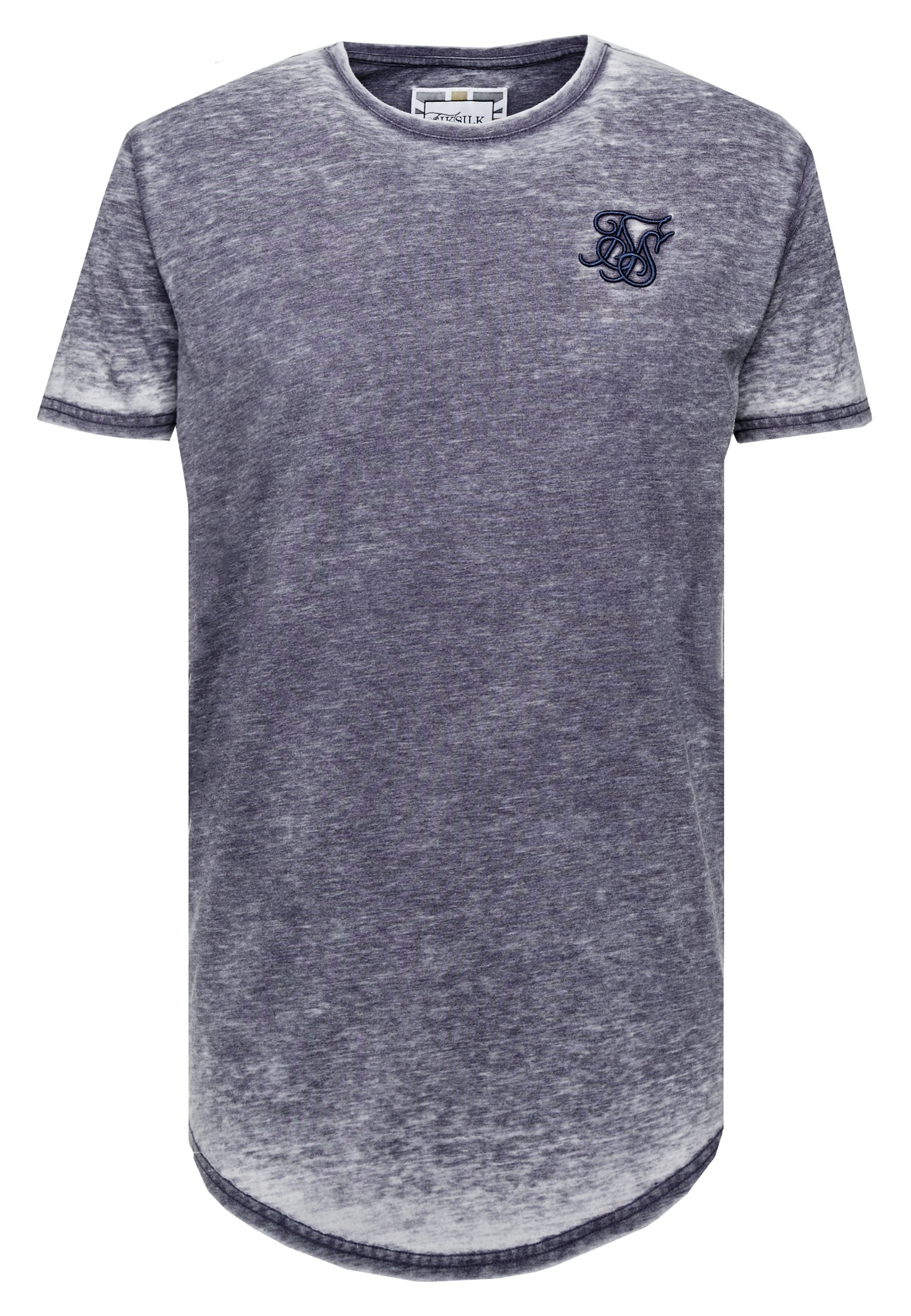 Siksilk Burnout Roll Sleeve Tee - T-shirt Basique Navy