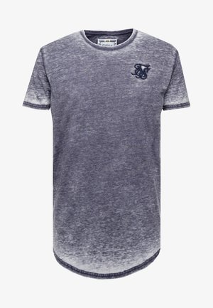 BURNOUT ROLL SLEEVE TEE - T-shirt basic - navy