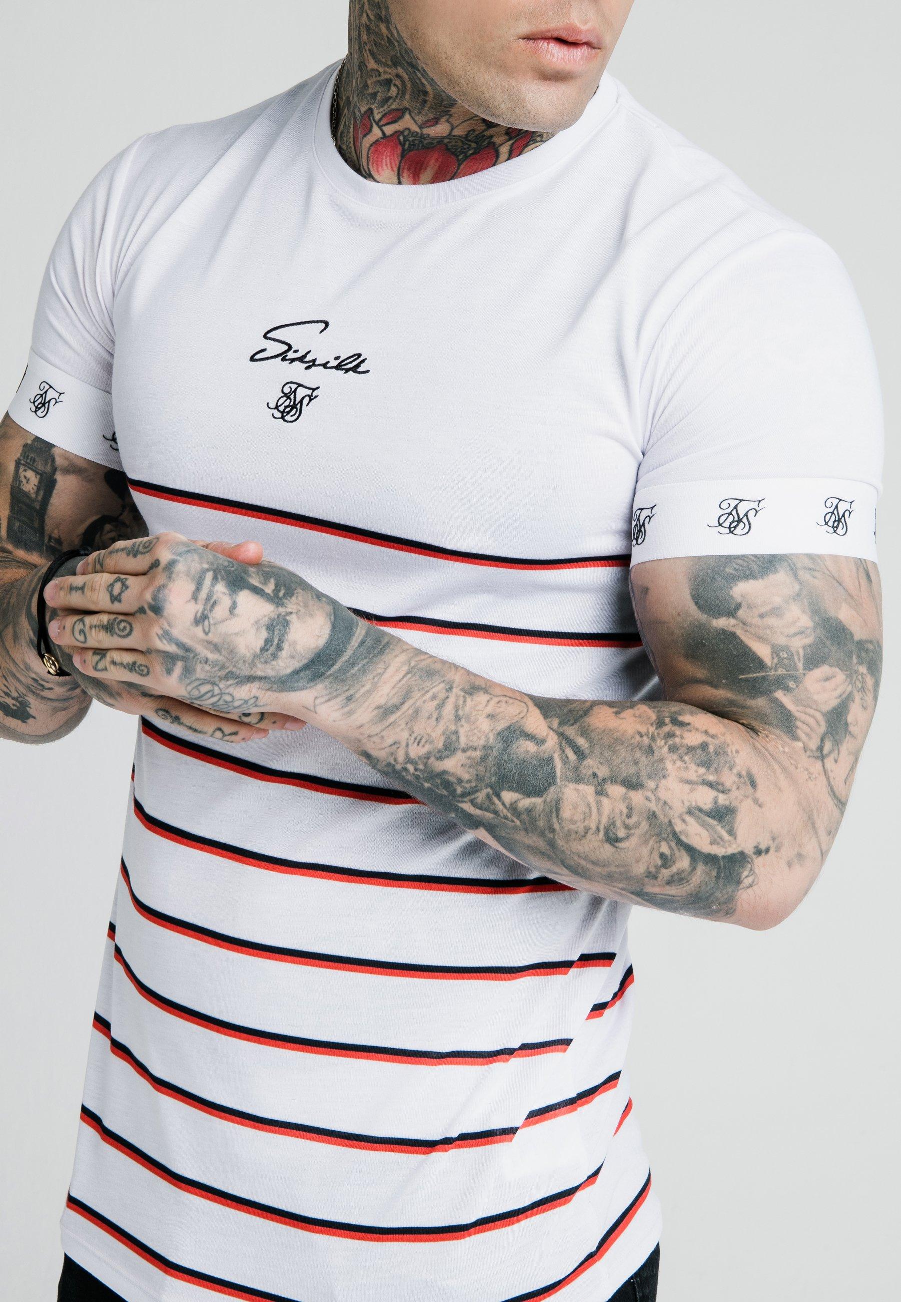 Siksilk Stripe Straight Hem Gym Tee - T-shirt Imprimé White/red/black