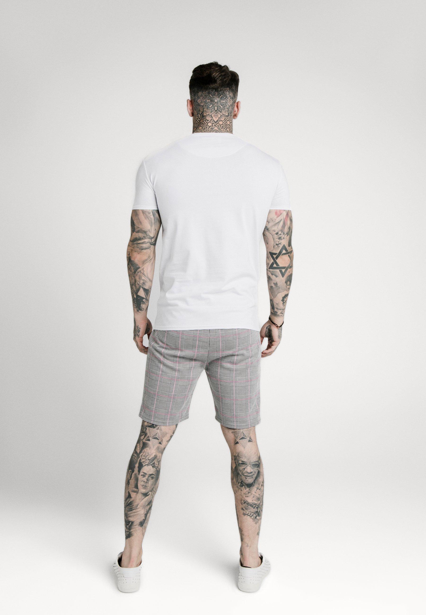 SIKSILK PANEL SMART TEE - T-shirt z nadrukiem - white