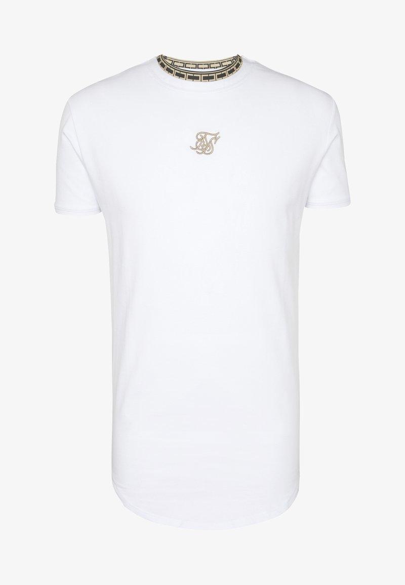 SIKSILK TAPE COLLAR GYM TEE - T-shirts - white/gold