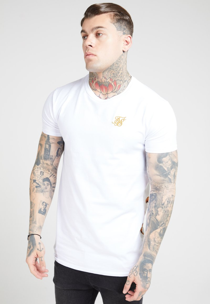 SIKSILK - PANEL FLORAL - Print T-shirt - white/elegance