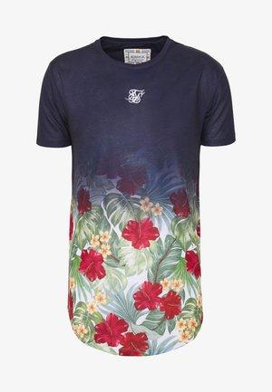 CURVED HEM FADE TEE - Print T-shirt - navy