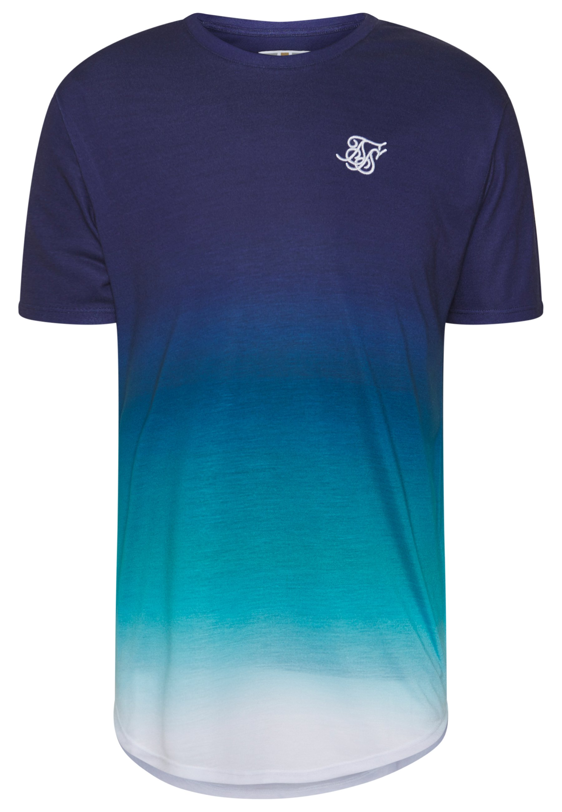 SIKSILK TRIPLE FADE TEE - T-shirt z nadrukiem - navy/teal/blue