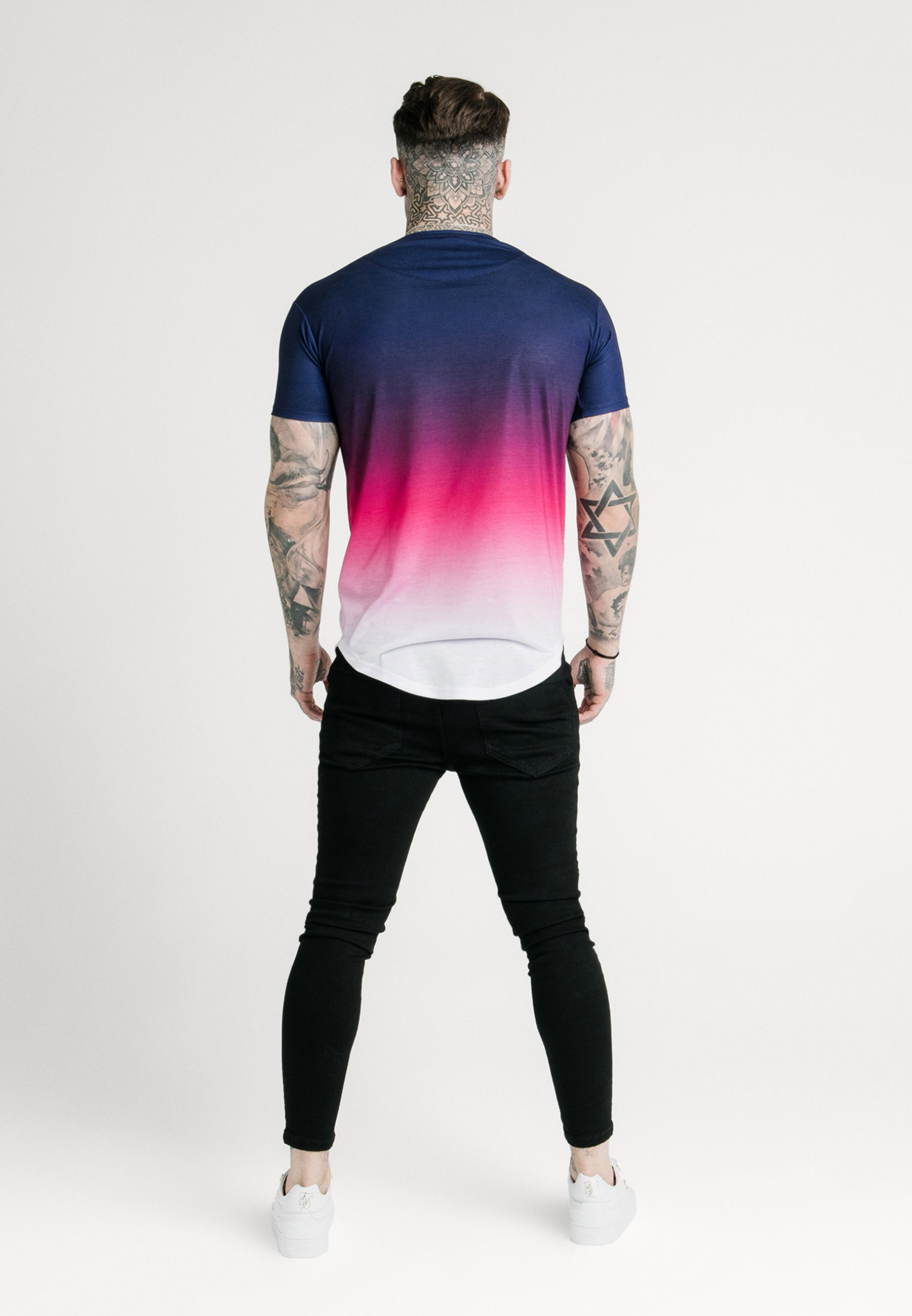 SIKSILK TRIPLE FADE TEE - Camiseta estampada - navy/pink/white