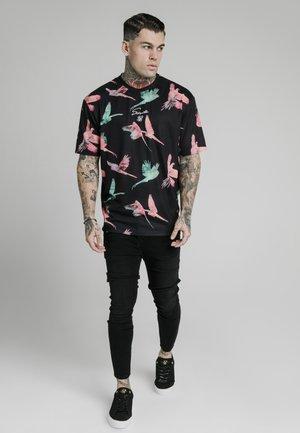 T-shirt med print - black teal  pink
