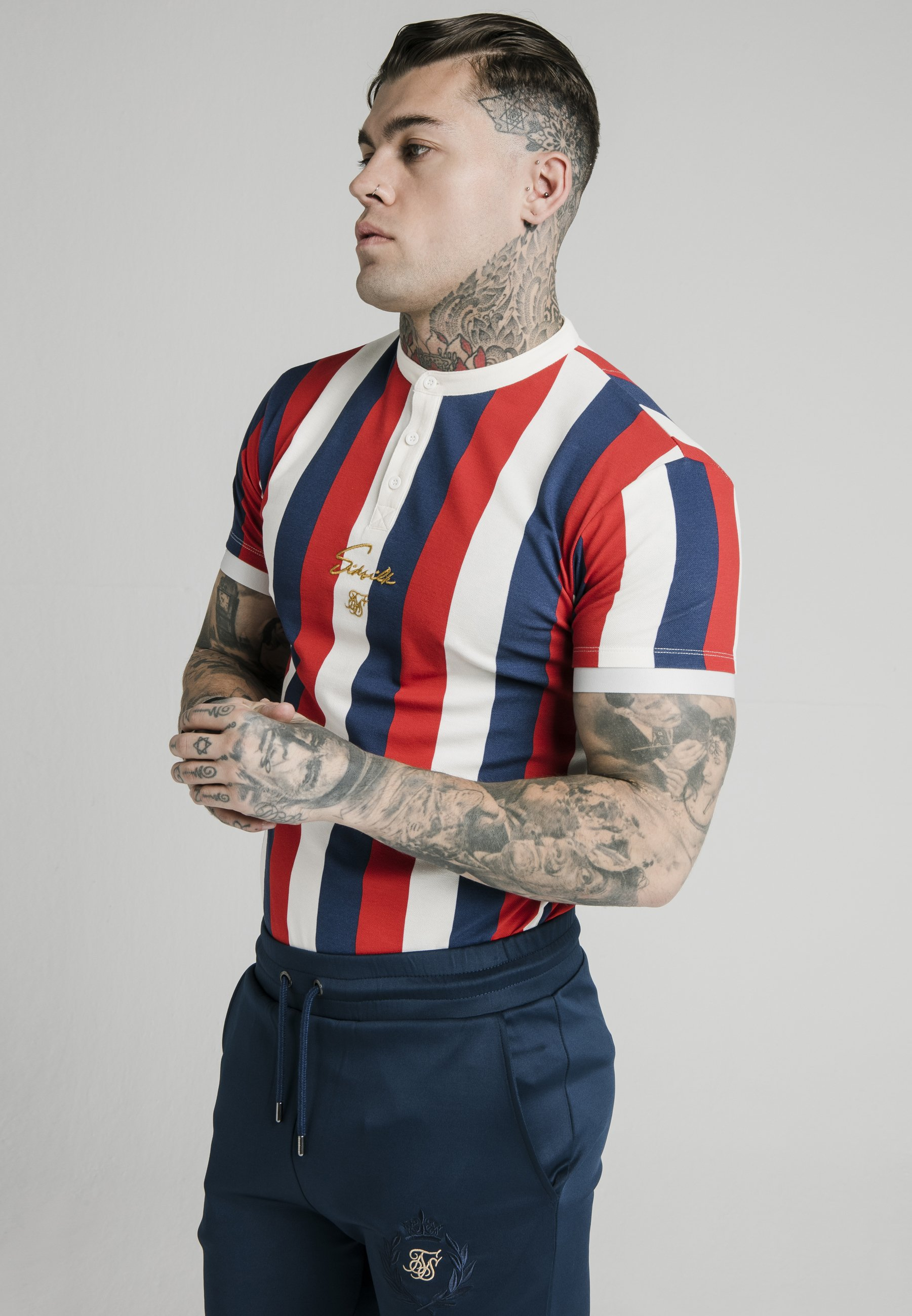 T shirt imprimé navy red white