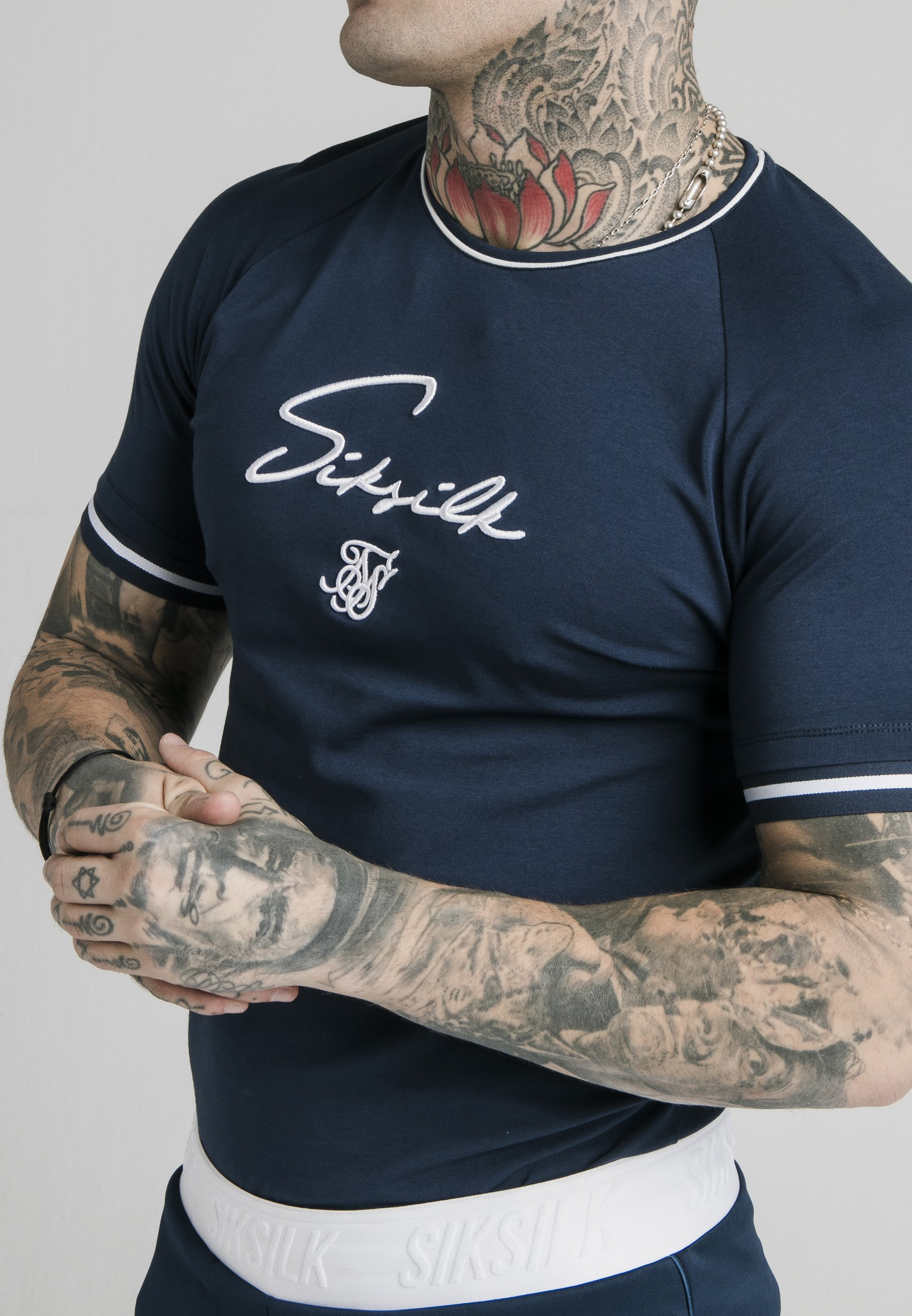 Siksilk Signature Piped Tech - T-shirt Con Stampa Navy 4b6PZs6