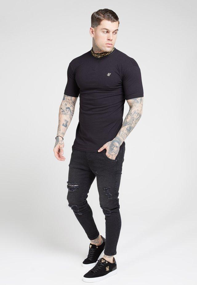 CHAIN RIB COLLAR - T-shirt basic - black