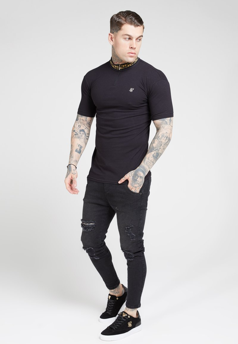 SIKSILK - CHAIN RIB COLLAR - Basic T-shirt - black