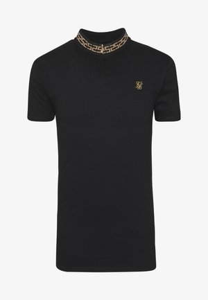 CHAIN RIB COLLAR - Basic T-shirt - black
