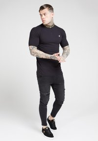 SIKSILK - CHAIN RIB COLLAR - Basic T-shirt - black - 1