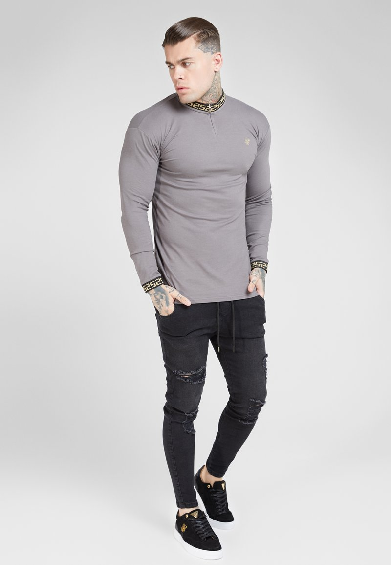 SIKSILK - LONG SLEEVE CHAIN COLLAR CUFF - Maglietta a manica lunga - grey
