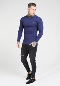 SIKSILK - SIKSILK LONG SLEEVE CHAIN RIB COLLAR CUFF - T-shirt à manches longues - navy - 1