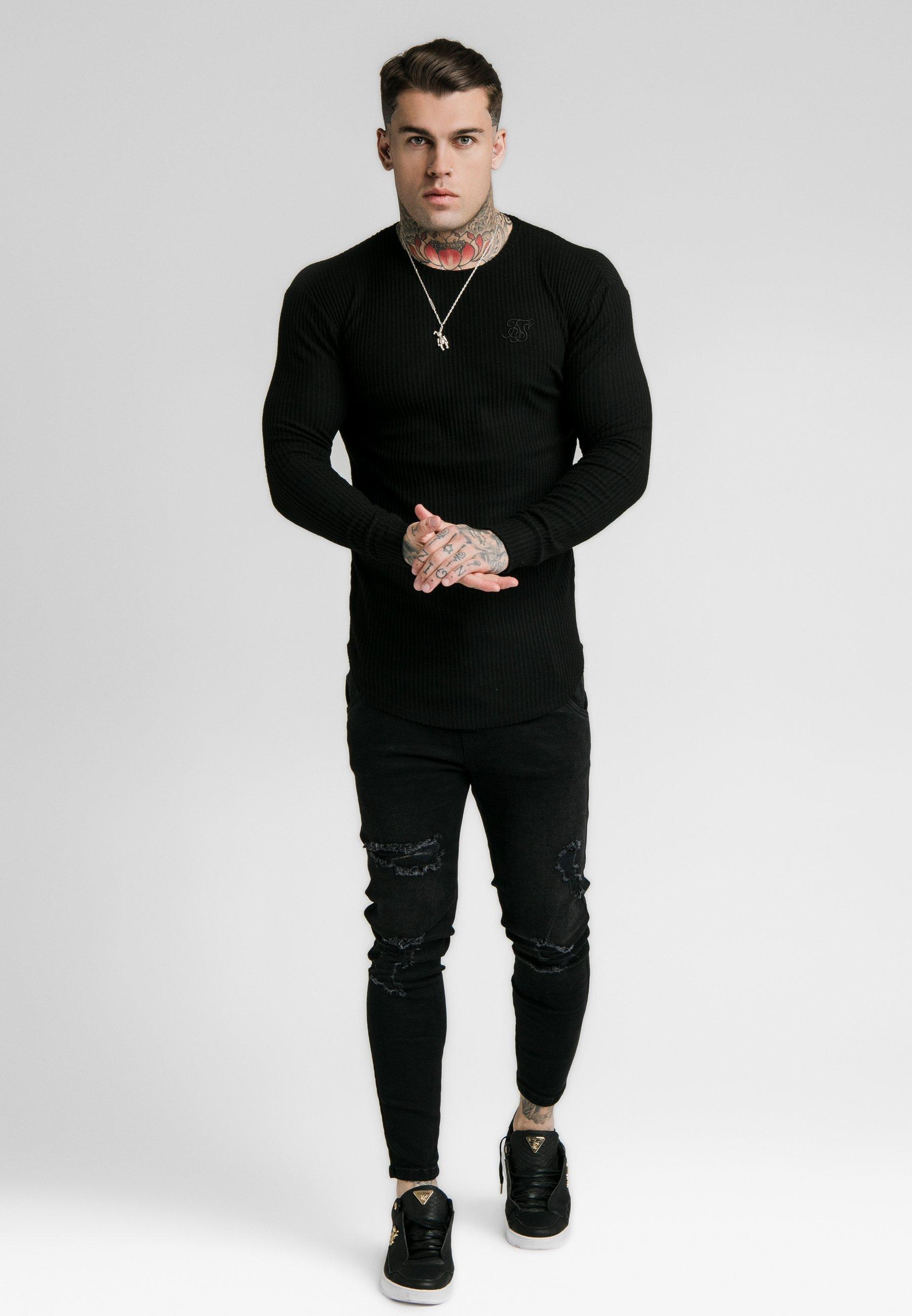 SIKSILK LONG SLEEVE BRUSHED GYM TEE - Bluzka z długim rękawem - black