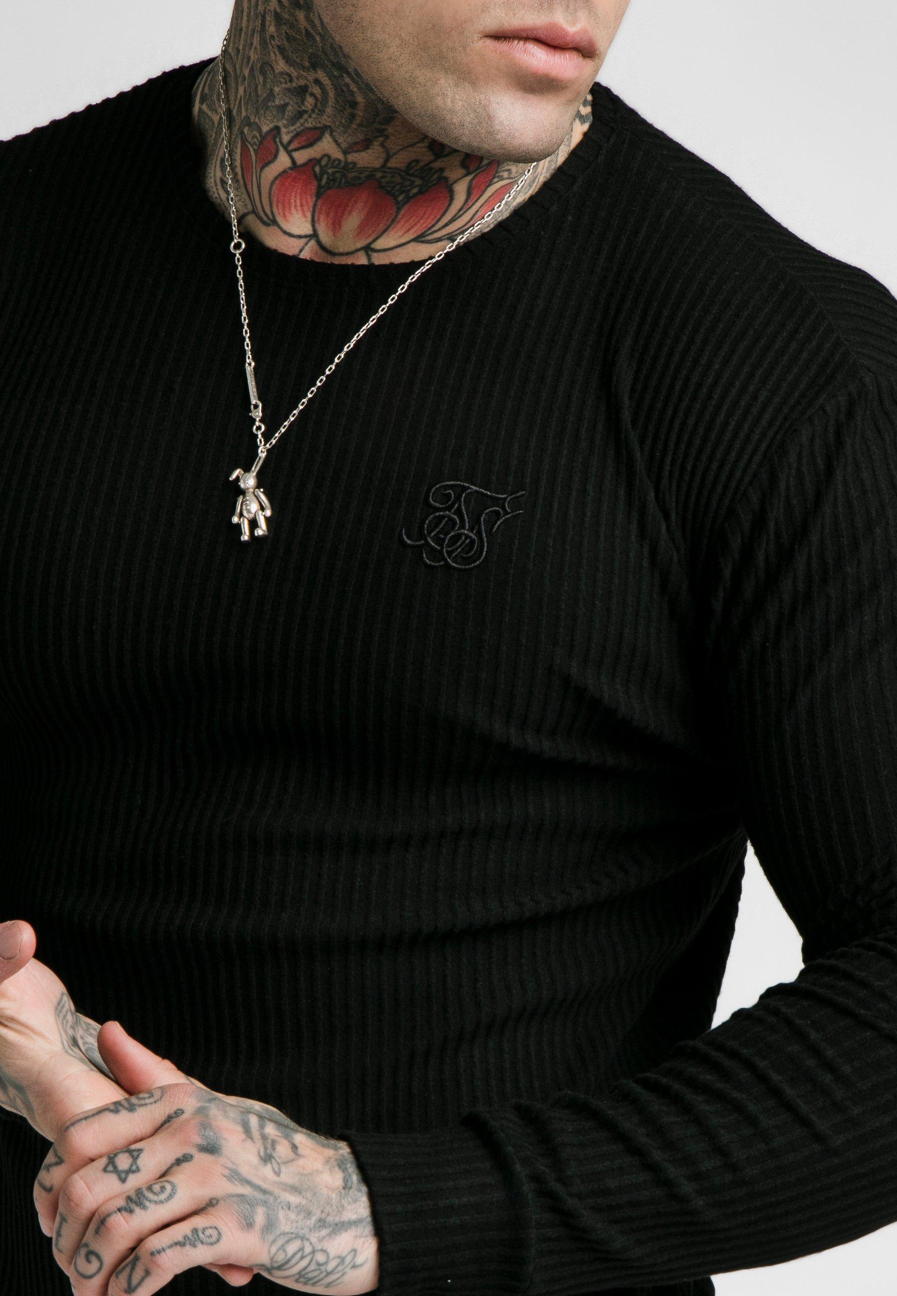 Siksilk Long Sleeve Brushed Gym Tee - Långärmad Tröja Black