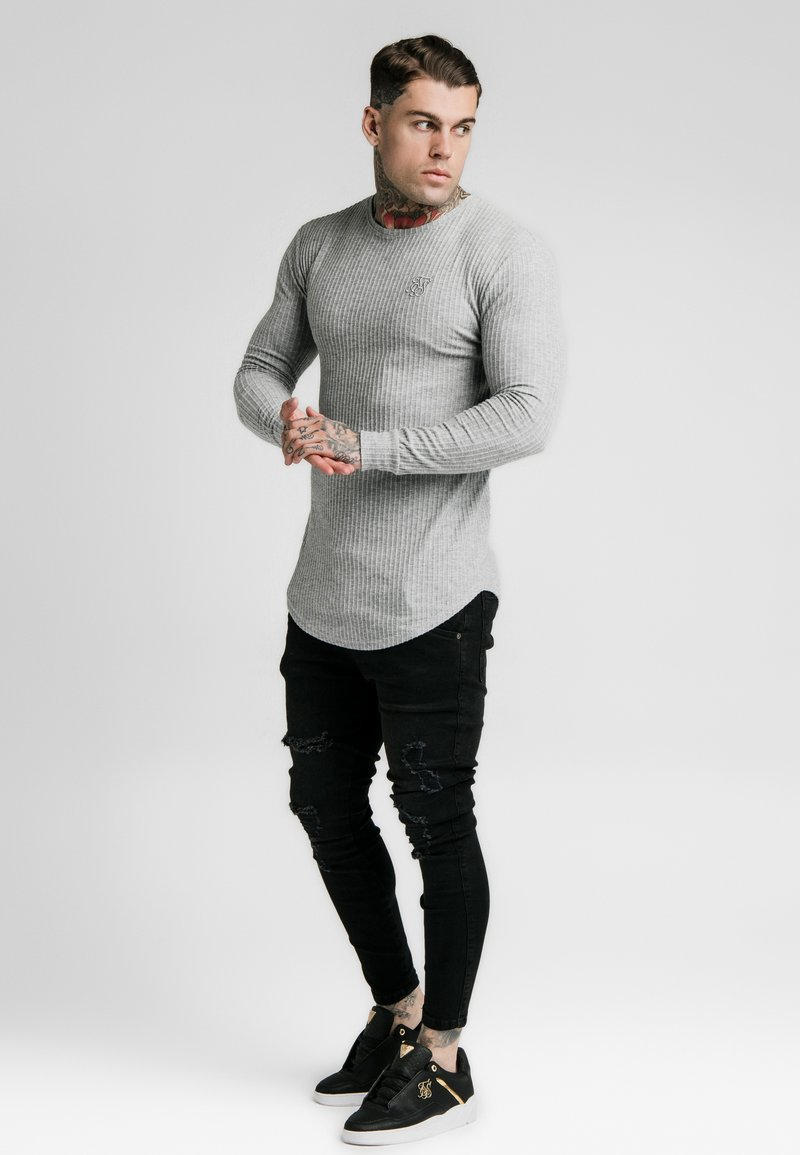 SIKSILK - LONG SLEEVE BRUSHED GYM TEE - Stickad tröja - grey