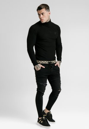 LONG SLEEVE BRUSHED TURTLE NECK - Stickad tröja - black