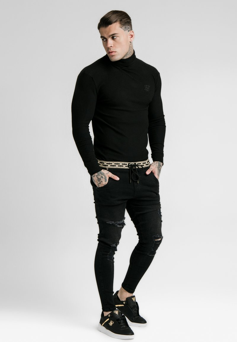 SIKSILK - LONG SLEEVE BRUSHED TURTLE NECK - Pullover - black