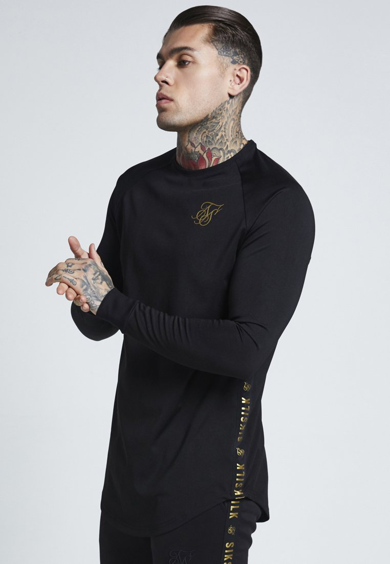 SIKSILK - PERFORMANCE CREW - Long sleeved top - black/gold