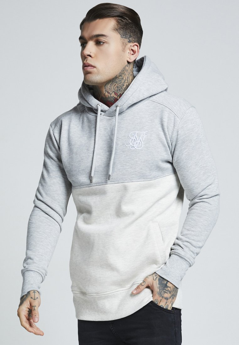 SIKSILK - DROP SHOULDER CUT SEW HOODIE - Jersey con capucha - grey marl off-white